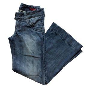Express X2 Low Rise Flare Leg Jeans Medium Wash 10